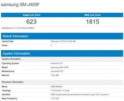 Смартфон Samsung Galaxy J4 – результаты тестирования в Geekbench