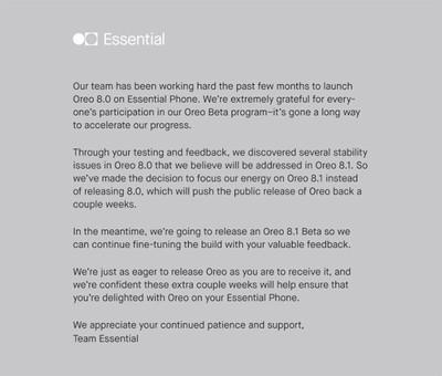 Essential Phone не получит обновление Android 8.0