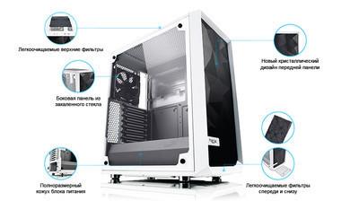 Новый мощный корпус - Fractal Design Meshify C White - TG