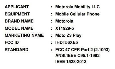 FCC рассекретила характеристики Moto Z3 Play