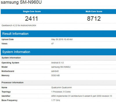 Samsung Galaxy Note 9 – тестирование в Geekbench и первый рендер