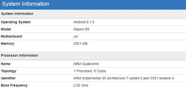 Подробности о новом смартфоне Xiaomi E6