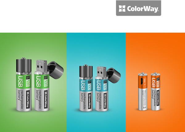 ColorWay представила пальчиковые аккумуляторы, заражающиеся от USB-порта