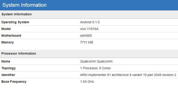 Vivo V1816A – смартфон в среднем сегменте с 8 ГБ ОЗУ