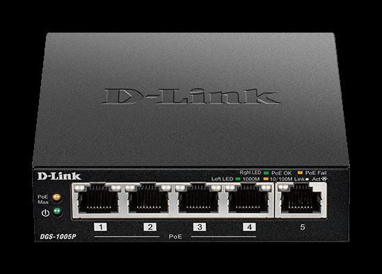 D-Link представляет новые неуправляемые PoE-коммутаторы DGS-1005P и DES-1005P