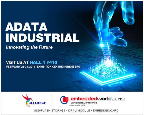 ADATA представит на Embedded World 2019 линейку индустриальных систем хранения
