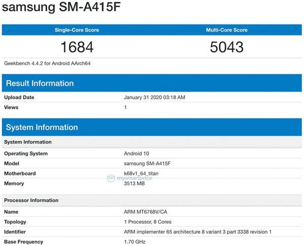 Смартфон Samsung Galaxy A41 – первые подробности