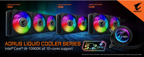 AORUS LIQUID COOLER обеспечивает возможность всем ядрам Intel Core i9 10900K