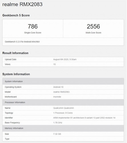Realme X3 Pro засветился в GeekBench с прошлогодним флагманским Qualcomm