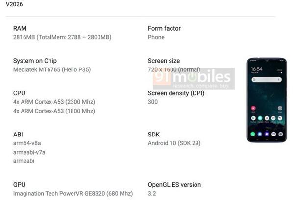 Близится выход доступного смартфона Vivo Y12s с чипом Helio P35 и экраном HD+