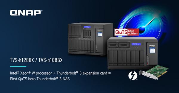 Гибридные NAS  TVS-h1288X и TVS-h1688 с опцией добавления портов Thunderbolt 3 о