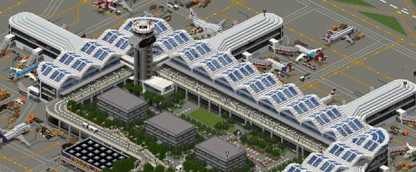 В Minecraft уже год строят город с аэропортом