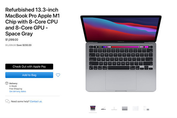 Apple начала продажи восстановленных MacBook Pro 13 на чипе M1