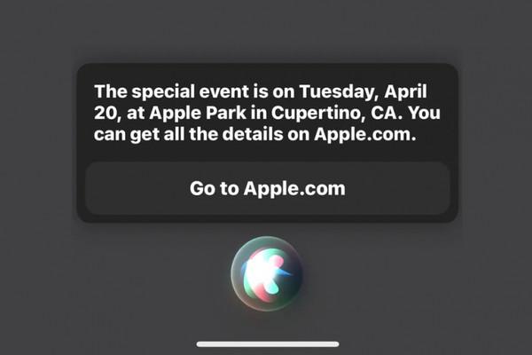 Siri заявила, что следующая презентация Apple состоится 20 апреля